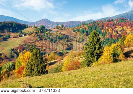 Mountainous Countryside In Autumn. Landscape With Forests In Fall Colours And Grassy Meadows In Even