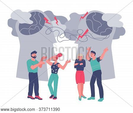 Family Couple Psychotherapy Or Psychiatrist Consulting Vector Flat Illustration.