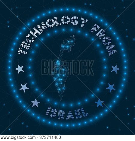 Technology From Israel. Futuristic Geometric Badge Of The Country. Technological Concept. Round Isra