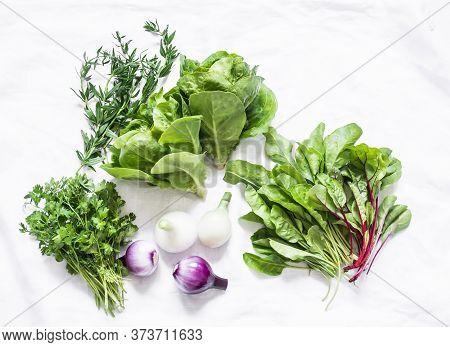 Fresh Garden Herbs On A White Background, Top View. Spinach, Coriander, Romaine Salad, Red Onion - D