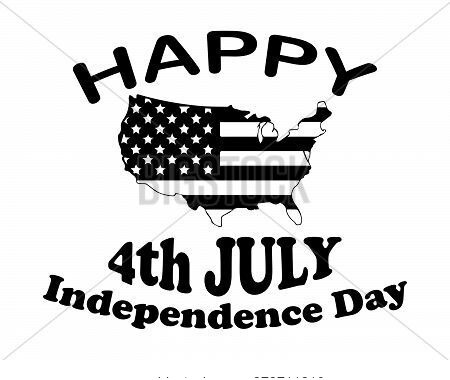 Happy 4th July Independence Day Text And American Usa Us Country Map Wrapped With Star Spangled Bann