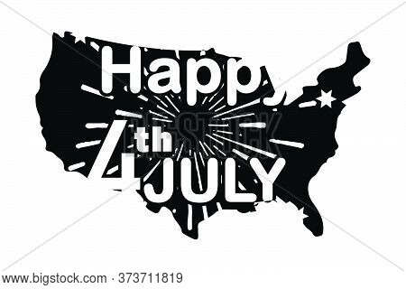 Happy 4th July With Fireworks Over American Map. Independence Day Federal Holiday Of The United Stat