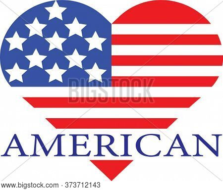 American Heart in Red White and Blue Stars and Stripes