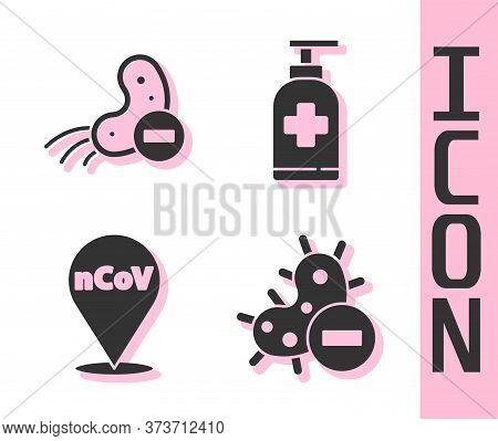 Set Negative Virus, Negative Virus, Corona Virus 2019-ncov On Location And Bottle Of Liquid Antibact