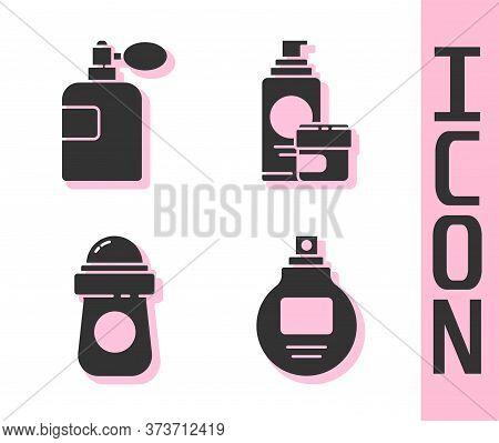 Set Perfume, Perfume, Antiperspirant Deodorant Roll And Cream Or Lotion Cosmetic Tube Icon. Vector