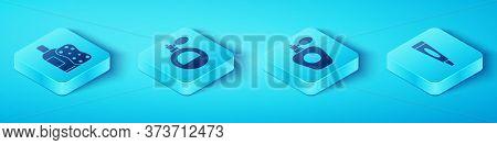 Set Isometric Bottle Of Shampoo And Sponge, Perfume, Cream Or Lotion Cosmetic Tube And Perfume Icon.