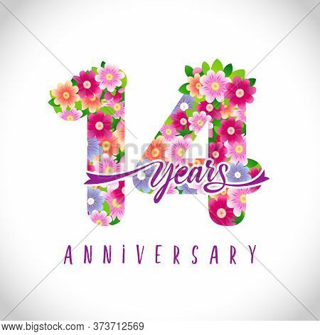 14 Th Anniversary Numbers. 14 Years Old Logotype. Floral Pink Congrats. Isolated Abstract Graphic De