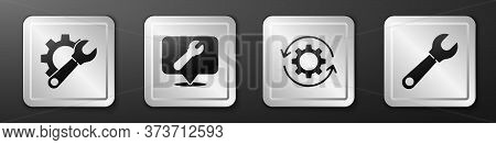 Set Wrench Spanner And Gear, Location With Wrench Spanner, Gear And Arrows As Workflow And Wrench Sp