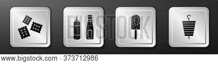 Set Cracker Biscuit, Sauce Bottle, Ice Cream And Grilled Shish Kebab Icon. Silver Square Button. Vec