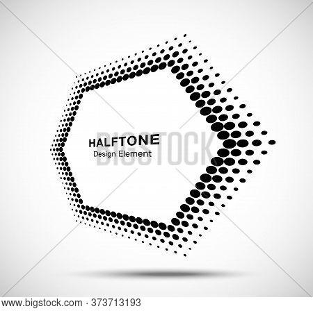 Halftone Distort Hexagon In Perspective. Circle Dots. Logo Design Element. Sale Banner. Vector Illus