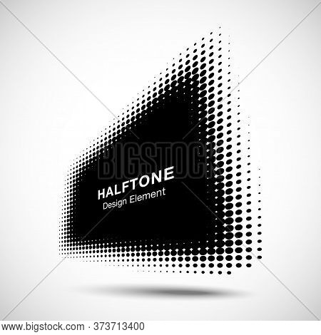 Halftone Distort Rectangle In Perspective. Circle Dots. Logo Design Element. Sale Banner. Vector Ill