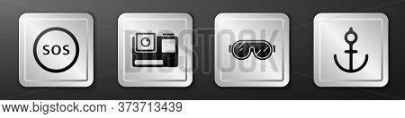 Set Location With Sos, Action Extreme Camera, Ski Goggles And Anchor Icon. Silver Square Button. Vec