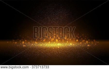 Luxury Gold Glitter Particles On Black Background. Golden Glowing Lights Magic Effects. Glow Sparkle