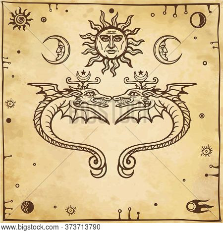 Set Of Alchemical Symbols.  Mystical Snakes Protect Heavenly Bodies. Religion, Mysticism, Occultism,