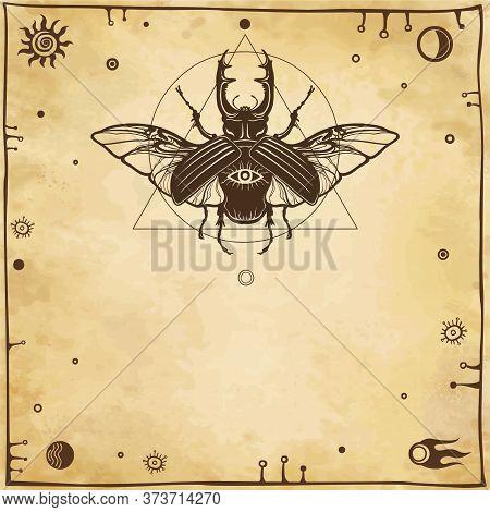 Horned Bug Deer. Geometrical Figures, Space Symbols, Ancient Manuscript.  Background - Imitation Of