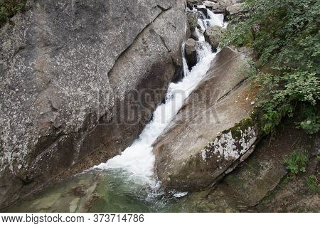 The View Of Torrent Palobbia, Braone Waterfall Path, Lombardy, Italy