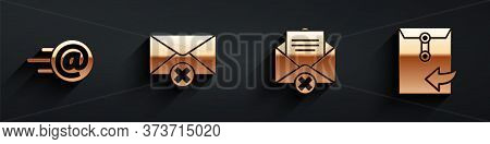 Set Mail And E-mail, Delete Envelope, Delete Envelope And Envelope Icon With Long Shadow. Vector
