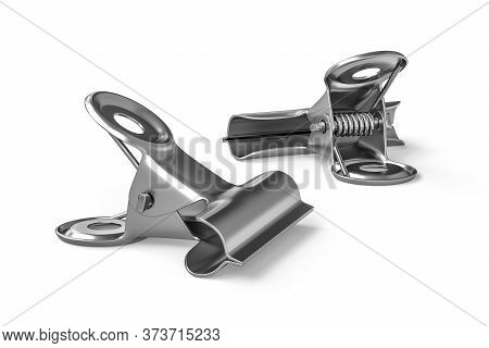 Stainless Steel Binding Clip Bulldog Isolated On White Background - 3d Render