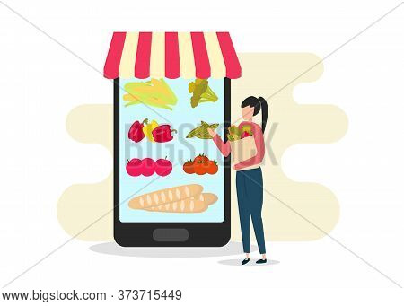 Girl With Paper Bag Choosing Food On Big Mobile Screen, Mobile Application For Ordering Food Online,