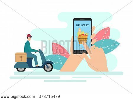 Hands Using Food Delivery Mobile App And Delivery Guy On Scooter, Creative Illustration Of Food Deli