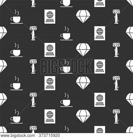 Set Parachute, Aircraft Steering Helm, Coffee Cup And Passport On Seamless Pattern. Vector