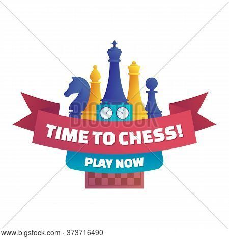 Time To Chess, Play Now Isolated Sticker. Chess Club Label Design With Chess Pieces, Double Chess Cl