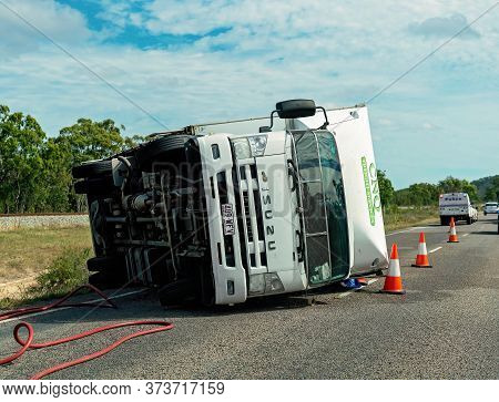 Townsville, Queensland, Australia - June 2020: A Truck Rollover On The Bruce Highway Which Held Up T