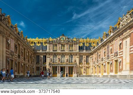 Versailles, France - August 27, 2019 : People Visiting The Palace Of Versailles, A Royal Chateau In