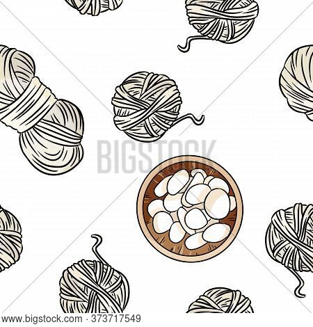 Bohemian Seamless Border Pattern. Wooden Bowls With White Pebble Stones And Cotton Yarn Background.