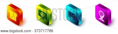 Set Isometric Envelope, Mail And E-mail, Monitor And Phone And Location And Mail And E-mail Icon. Ve