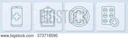 Set Line Emergency Mobile Phone Call To Hospital, Medical Symbol Of The Emergency, Medical Clipboard