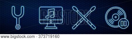Set Line Drum Sticks, Musical Tuning Fork, Computer With Music Note, Vinyl Disk And Music Synthesize
