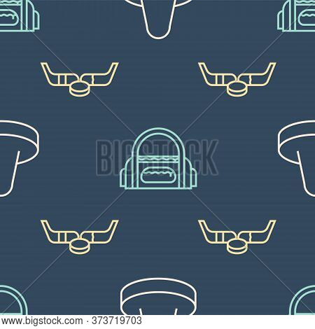 Set Line Mallet For Playing Air Hockey, Ice Hockey Sticks And Puck And Sport Bag On Seamless Pattern