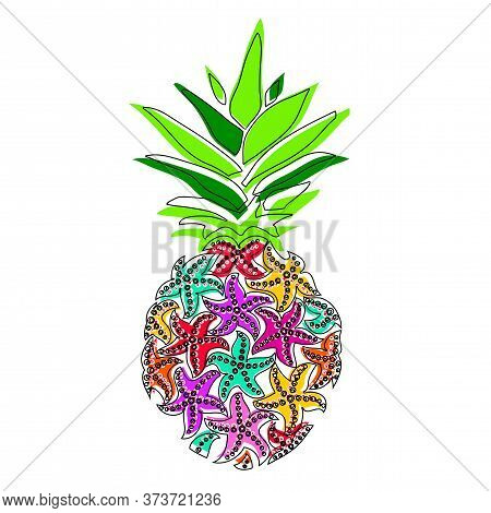 Ananas. Pineapple Of Sea Stars. Summer Season Pineapple Set Of Isolated Icons Vector.