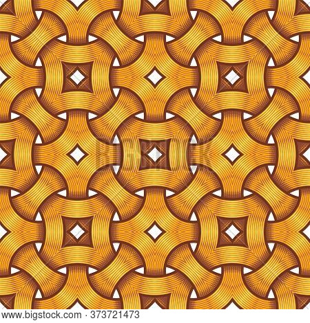 Vector Illustration Of A Celtic Seamless Pattern - Mystic, Decorative Intertwined Golden Engraved Ri