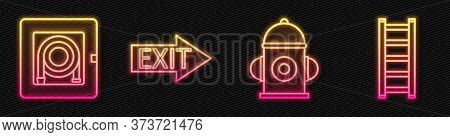 Set Line Fire Hydrant, Fire Hose Cabinet, Fire Exit And Fire Escape. Glowing Neon Icon. Vector