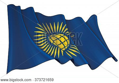 Vector Illustration Of A Waving Flag Of British Commonwealth.  All Elements Neatly On Well-defined L