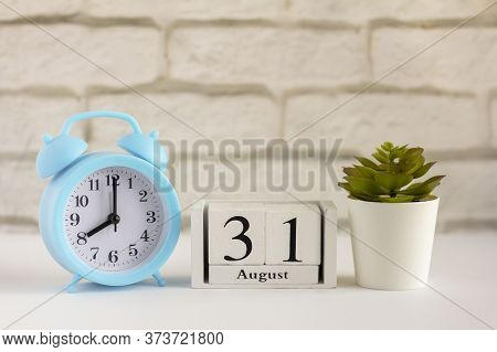 August 31, According To The Wooden Calendar. Summer Day, Empty Space For Text.calendar For August On