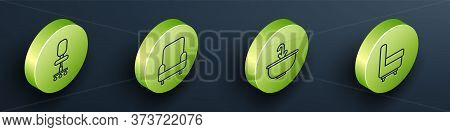 Set Isometric Office Chair, Armchair, Washbasin With Water Tap And Armchair Icon. Vector