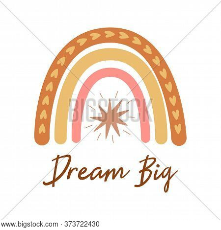 Boho Rainbow Kids Pastel Rainbow. Boho Wall Art Element Doodle Rainbow Text Dream Big, Kids Tribal P