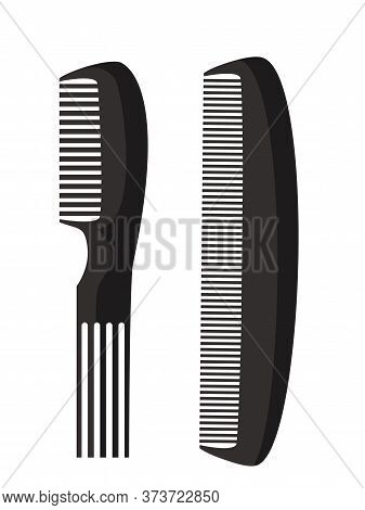 Cartoon Two Kinds Plastic Combs With Knobs And Denticles Set. Woman Hairdressers And Man Barber Shop