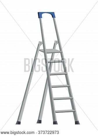 Aluminum Step Folding Ladder On White. Standing Platform Stool And Hand Bar. Home Appliance. Industr