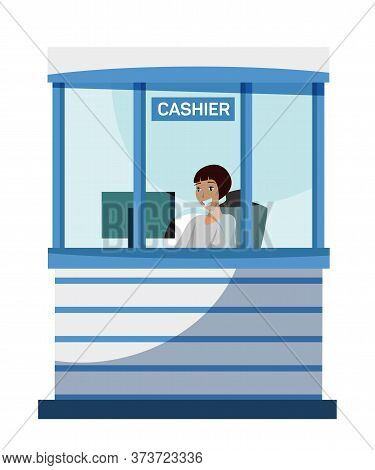 Female Bank Cashier Character Sitting At Cash Department Window. Friendly Smiling Woman Working At C