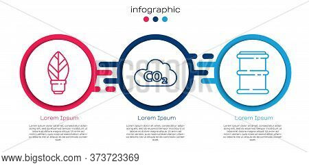 Set Line Light Bulb With Leaf, Co2 Emissions In Cloud And Barrel. Business Infographic Template. Vec