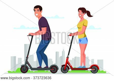 Friendly Smiling Man Woman On Electric Scooters. Happy Couple Prefer Eco Transportation. Cartoon Cit