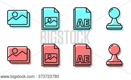 Set Line Ae File Document, Picture Landscape, Picture Landscape And Stamp Icon. Vector