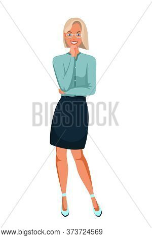 Businesswoman Office Worker Cartoon Character Full Length Portrait. Young Smiling Woman In Eyeglasse
