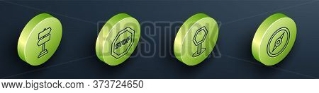 Set Isometric Road Traffic Sign, Stop Sign, Road Traffic Sign And Compass Icon. Vector