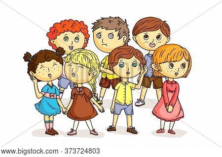 Funny Children Choir Isolated On White. Cartoon Boys And Girls Singing Song Together. Cute Kids Perf