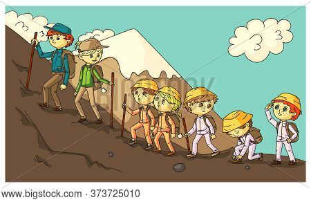 Travel Expedition With Schoolchildren In Mountains. Hiking And Trekking With Sticks. Adult And Littl